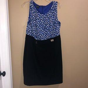 Blue and black sleeveless dress size 18